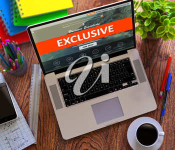 Exclusive on Landing Page of Laptop Screen. Business Concept. 3D Render.