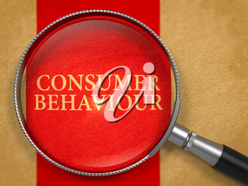 Consumer Behaviour through Loupe on Old Paper with Red Vertical Line Background. 3D Render.