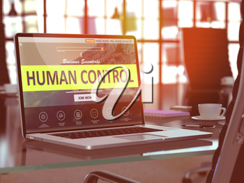 Human Control Concept Closeup on Laptop Screen in Modern Office Workplace. Toned Image with Selective Focus. 3D Render.