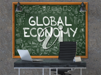 Hand Drawn Global Economy on Green Chalkboard. Modern Office Interior. Dark Old Concrete Wall Background. Business Concept with Doodle Style Elements. 3D.