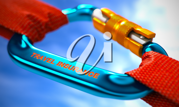 Red Ropes Connected by Blue Carabiner Hook with Text Travel Insurance. Selective Focus. 3D Render.