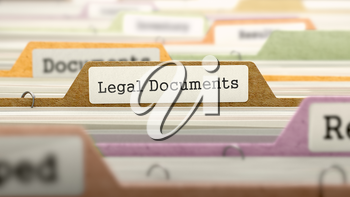Legal Documents Concept on Folder Register in Multicolor Card Index. Closeup View. Selective Focus. 3D Render.