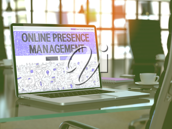 Online Presence Management Concept Closeup on Landing Page of Laptop Screen in Modern Office Workplace. Toned Image with Selective Focus. 3D Render.