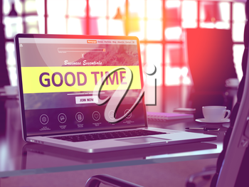 Good Time Concept Closeup on Laptop Screen in Modern Office Workplace. Toned Image with Selective Focus. 3D Render.