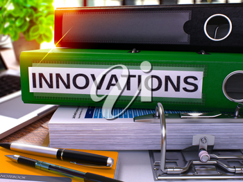 Innovations - Green Office Folder on Background of Working Table with Stationery and Laptop. Innovations Business Concept on Blurred Background. Innovations Toned Image. 3D Render.