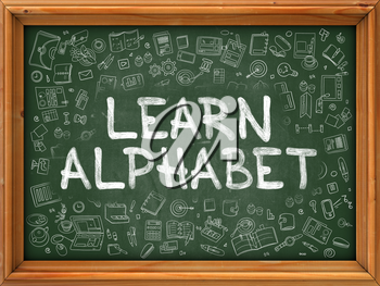 Learn Alphabet Concept. Line Style Illustration. Learn Alphabet Handwritten on Green Chalkboard with Doodle Icons Around. Doodle Design Style of  Learn Alphabet.