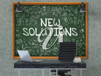 New Solutions Concept Handwritten on Green Chalkboard with Doodle Icons. Office Interior with Modern Workplace. Gray Concrete Wall Background. 3D.