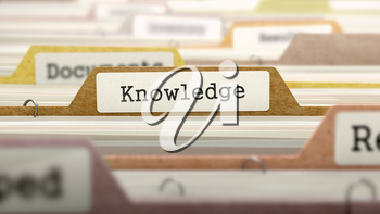 Knowledge Concept. Colored Document Folders Sorted for Catalog. Closeup View. Selective Focus. 3D Render.