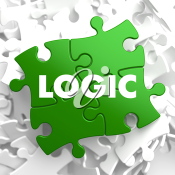 Logic on Green Puzzle on White Background. 3D Render.