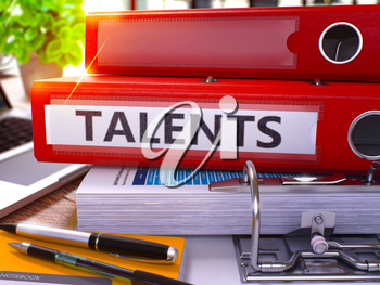 Talents - Red Office Folder on Background of Working Table with Stationery and Laptop. Talents Business Concept on Blurred Background. Talents Toned Image. 3D.