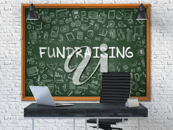 Green Chalkboard on the White Brick Wall in the Interior of a Modern Office with Hand Drawn Fundraising. Business Concept with Doodle Style Elements. 3D.
