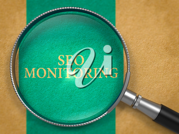 SEO - Search Engine Optimization - Monitoring through Loupe on Old Paper with Blue Vertical Line Background. 3D Render.