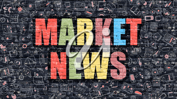 Market News. Multicolor Inscription on Dark Brick Wall with Doodle Icons. Market News Concept in Modern Style. Doodle Design Icons. Market News on Dark Brickwall Background.