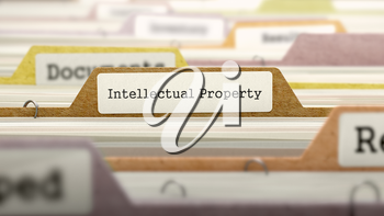Intellectual Property on Business Folder in Multicolor Card Index. Closeup View. Blurred Image. 3D Render.