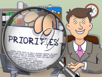 Priorities on Paper in Businessman's Hand to Illustrate a Business Concept. Closeup View View through Magnifier. Multicolor Doodle Style Illustration.