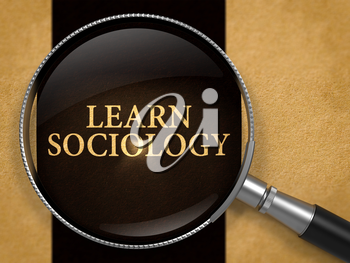 Learn Sociology through Loupe on Old Paper with Black Vertical Line Background. 3D Render.