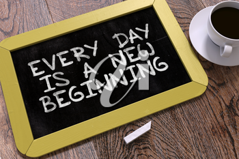 Hand Drawn Every Day is a New Beginning Concept  on Small Yellow Chalkboard. Business Background. Top View. 3D Render.