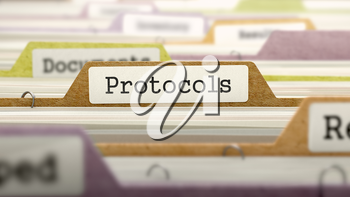 Protocols Concept on File Label in Multicolor Card Index. Closeup View. Selective Focus. 3D Render.