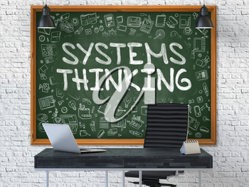 Green Chalkboard with the Text Systems Thinking Hangs on the White Brick Wall in the Interior of a Modern Office. Illustration with Doodle Style Elements. 3D.
