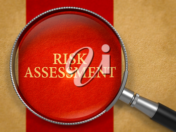 Risk Assessment through Magnifying Glass on Old Paper with Crimson Vertical Line Background. 3D Render.
