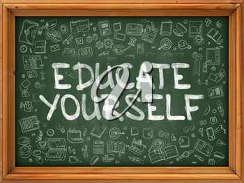 Educate Yourself - Hand Drawn on Chalkboard. Educate Yourself with Doodle Icons Around.