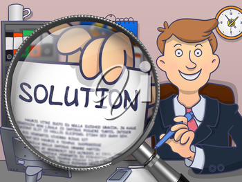 Business Man Welcomes in Office and Holding a Concept on Paper Solution. Closeup View through Magnifying Glass. Colored Doodle Illustration.