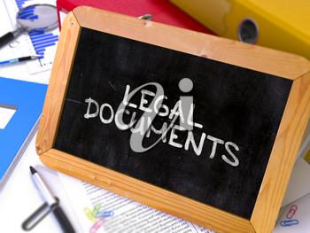 Hand Drawn Legal Documents Concept  on Chalkboard. Blurred Background. Toned Image. 3D Render.