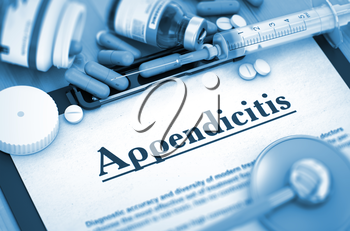 Appendicitis - Printed Diagnosis with Blurred Text. Appendicitis Diagnosis, Medical Concept. Composition of Medicaments. Appendicitis, Medical Concept with Selective Focus. 3D Render. Toned Image.