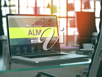 Alm Concept Closeup on Laptop Screen in Modern Office Workplace. Toned Image with Selective Focus. 3D Render.