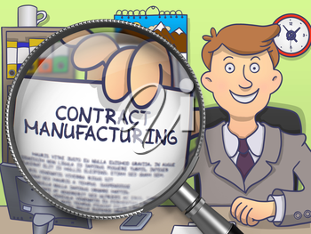Contract Manufacturing. Text on Paper in Business Man's Hand through Magnifier. Colored Doodle Illustration.