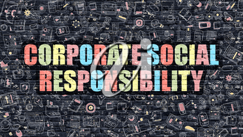 Corporate Social Responsibility Concept. Corporate Social Responsibility Drawn on Dark Brick Wall. Corporate Social Responsibility Concept in Multicolor Modern Doodle Style.