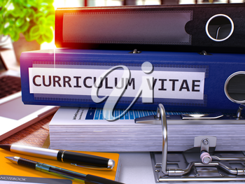 Curriculum Vitae - Blue Office Folder on Background of Working Table with Stationery and Laptop. Curriculum Vitae Business Concept on Blurred Background. Curriculum Vitae Toned Image. 3D.