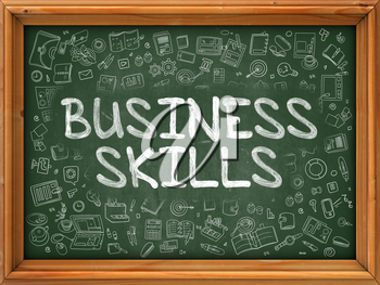 Business Skills - Hand Drawn on Chalkboard. Business Skills with Doodle Icons Around.