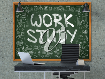 Work Study Concept Handwritten on Green Chalkboard with Doodle Icons. Office Interior with Modern Workplace. Gray Concrete Wall Background. 3D.