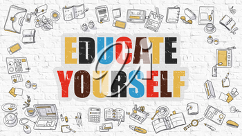 Educate Yourself. Multicolor Inscription on White Brick Wall with Doodle Icons Around. Modern Style Illustration with Doodle Design Icons. Educate Yourself on White Brickwall Background.