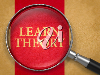 Learn Theory through Magnifying Glass on Old Paper with Dark Red Vertical Line Background. 3D Render.
