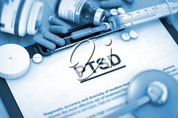 PTSD, Medical Concept with Selective Focus. PTSD Diagnosis, Medical Concept. Composition of Medicaments. PTSD - Medical Report with Composition of Medicaments - Pills, Injections and Syringe. 3D.