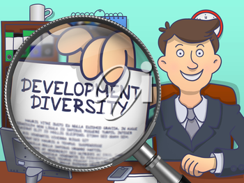 Development Diversity. Business Man Sitting in Office and Showing through Magnifier Concept on Paper. Colored Doodle Style Illustration.