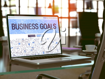 Business Goals - Closeup Landing Page in Doodle Design Style on Laptop Screen. On Background of Comfortable Working Place in Modern Office. Toned, Blurred Image. 3D Render.