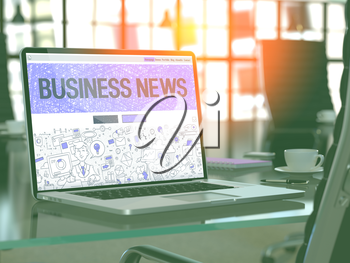 Business News - Closeup Landing Page in Doodle Design Style on Laptop Screen. On Background of Comfortable Working Place in Modern Office. Toned, Blurred Image. 3D Render.