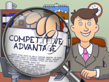 Competitive Advantage on Paper in Business Man's Hand to Illustrate a Business Concept. Closeup View through Magnifier. Multicolor Doodle Illustration.