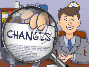 Changes on Paper in Officeman's Hand to Illustrate a Business Concept. Closeup View through Magnifying Glass. Multicolor Modern Line Illustration in Doodle Style.