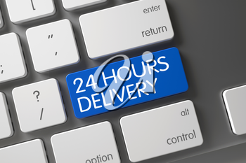 Modern Keyboard with Hot Key for 24 Hours Delivery. Keyboard with Blue Key - 24 Hours Delivery. 24 Hours Delivery CloseUp of Modern Keyboard on Laptop. 3D Render.