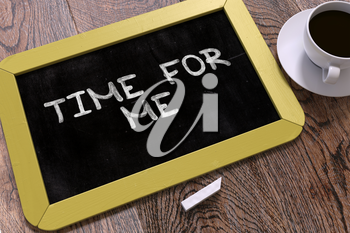 Time for Me Concept Hand Drawn on Yellow Chalkboard on Wooden Table. Business Background. Top View. 3D Render.