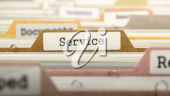 Service Concept on File Label in Multicolor Card Index. Closeup View. Selective Focus. 3D Render.