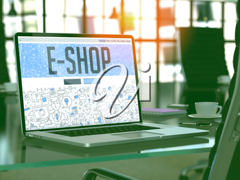E-Shop - Closeup Landing Page in Doodle Design Style on Laptop Screen. On Background of Comfortable Working Place in Modern Office. Toned, Blurred Image. 3D Render.