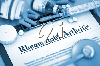 Diagnosis - Rheumatoid Arthritis - Medical Report with Composition of Medicaments - Pills, Injections and Syringe. Toned Image. 3D Render.
