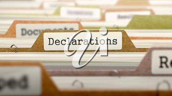 Declarations on Business Folder in Multicolor Card Index. Closeup View. Blurred Image. 3D Render.