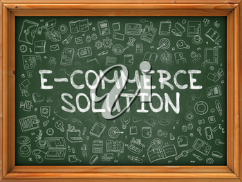 E-Commerce Solution - Hand Drawn on Chalkboard.  E-Commerce Solution with Doodle Icons Around.