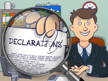 Business Man Showing Concept on Paper Declarations. Closeup View through Lens. Multicolor Modern Line Illustration in Doodle Style.